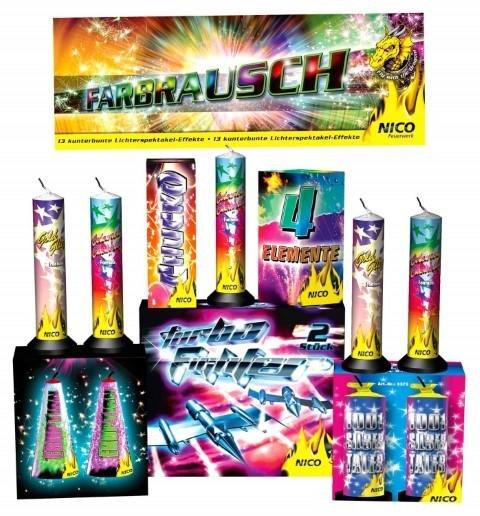 Farbrausch Leuchtsortiment - 133 teiliges Set leises Feuerwerk und prachtvolle Fontänen
