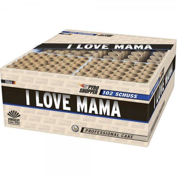 I Love Mama - Mega XXL Feuerwerk in einer Box mit 102 Schuss