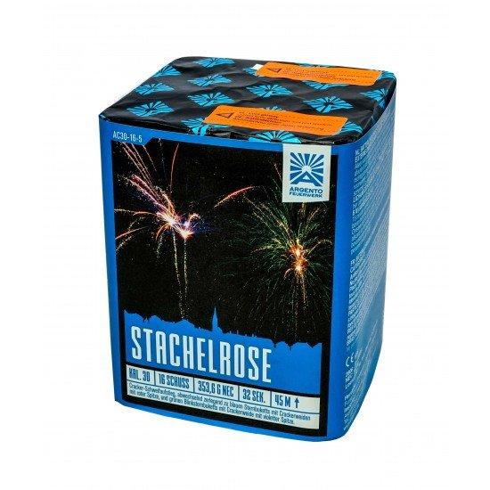 Stachelrose - 16 Schuss Crackling Feuerwerk mit bunten Crackling Weiden