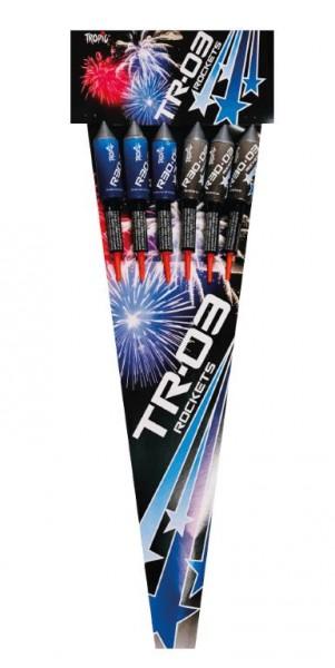 6 kräftige TR03 Raketen aus dem Hause Tropic Firework aus Polen