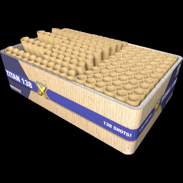 138 schuss große und kräftige Effekte - Die Titan 138 Feuerwerksbatterie