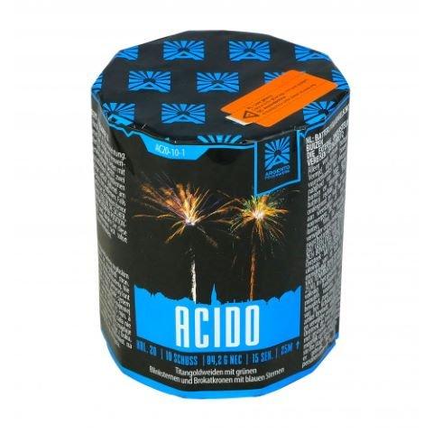 Acido - Kleine 10 Schuss Batterie mit kräftigen Gold Effekten