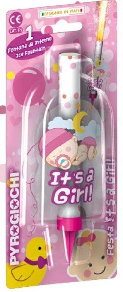 Eisfontäne mit baby motiv in rosa und It's a girl