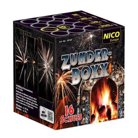 Zunderboxx - 16 Schuss Batterie mit großen Blinksternbuketts und farbigen Sternen