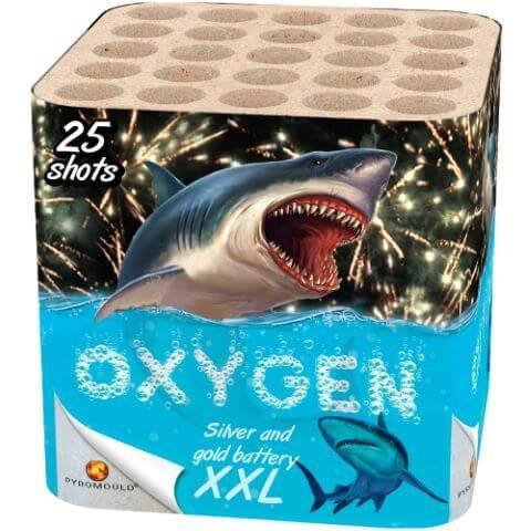 Oxygen - Preisgünstige Silber und Gold Feuerwerksbatterie in Pyromould Technologie hergestellt