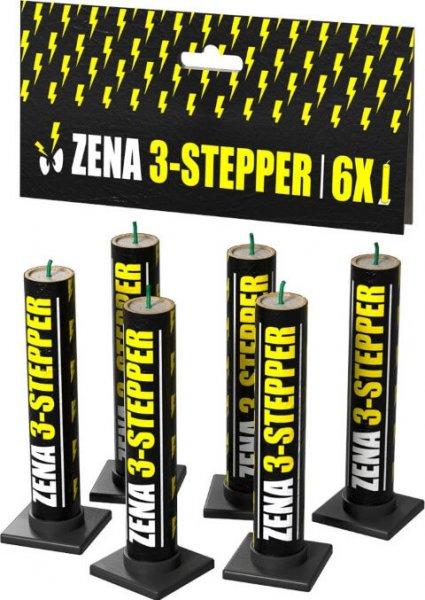 Zena 3 Steper - 3fach Pfeif Fontäne mit kräftigem Crackling Finale