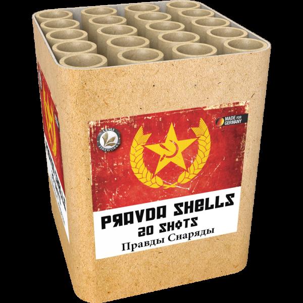 20 große Ringeffekte mit extra lauter Zerlegung. Die Pravda Shells Feuerwerksbatterie