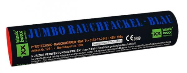 Jumbo Rauchfackel Blau mit zweiseitigen Rauchausstoss
