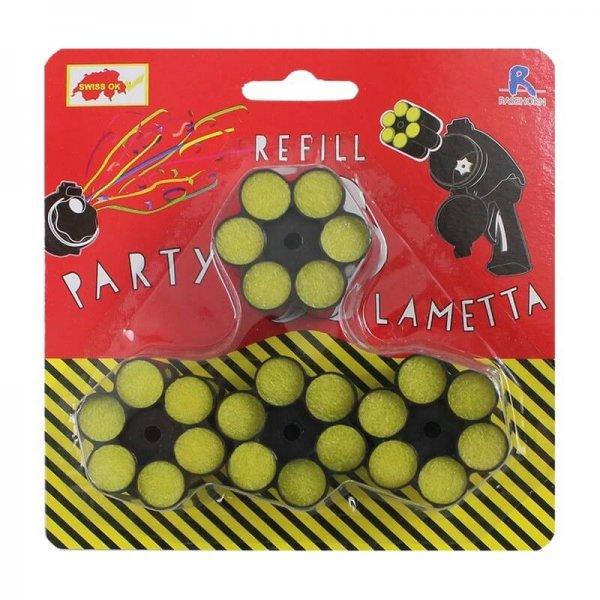 Lametta Nachfüllset in schwarz mit 4x6 Schuss Patronen mit bunten Luftschlangen