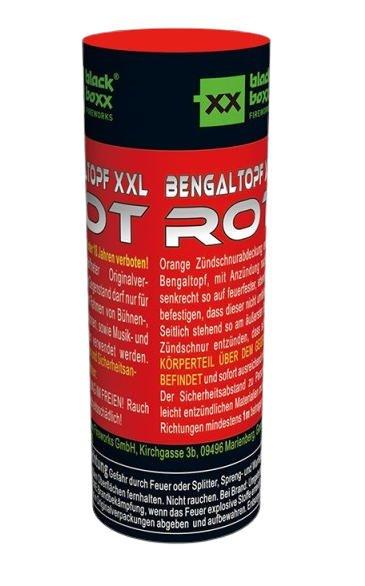 Roter XXL Bengaltopf mit 60 Sekunden Brenndauer
