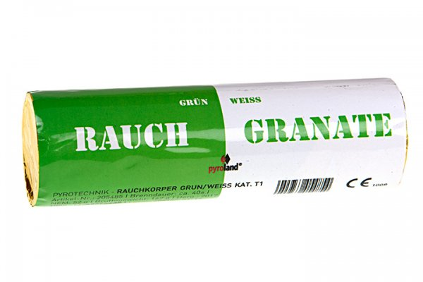 Rauchgranate Grün Weiß - Doppelrauch im Pyrolager.de
