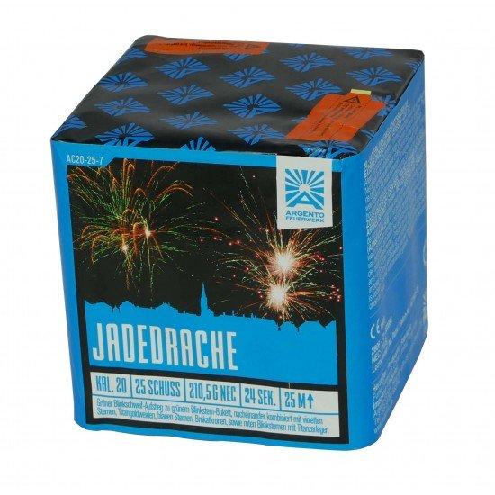 Jadedrache - 25 Schuss Feuerwerk mit grünen Blinksternbuketts und tollen Farbkombinationen