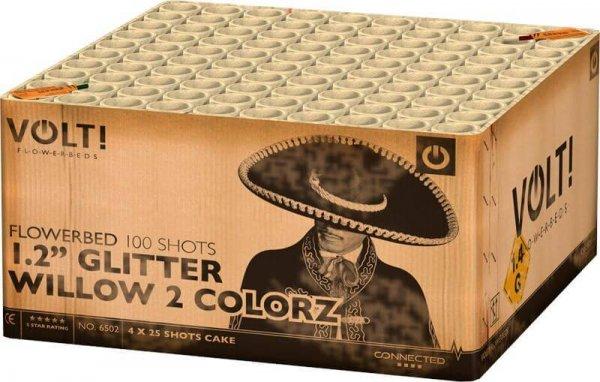 """1,2"""" Glitter Willow 2 Colorz 100 Schuss Verbundfeuerwerk aus der Volt! Reihe"""