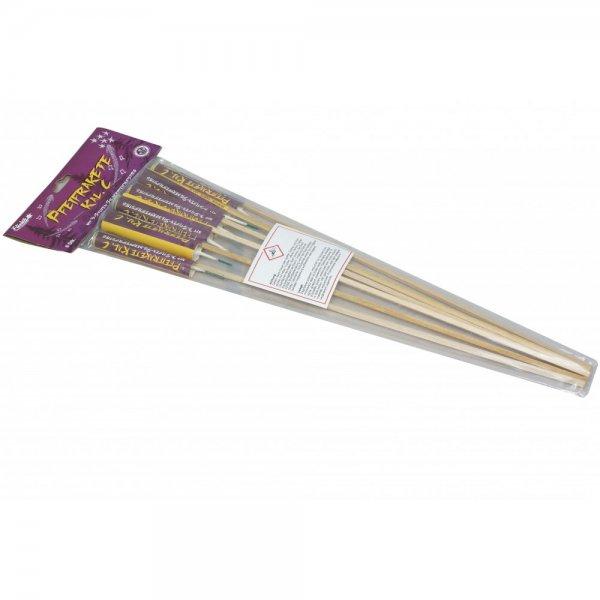 Pfeifraketen Kaliber C mit 3 Stufen Silbercrackern - kleine Raketen mit silbernen Pfeif Aufstieg und Crackern -