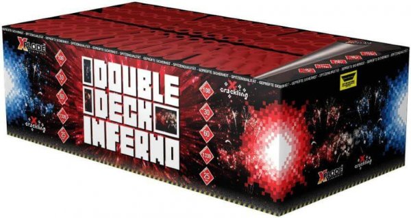 Double Deck Inferno - 106 Schuss Feuerwerk mit Crackling und farbigen Sternen - XP4458