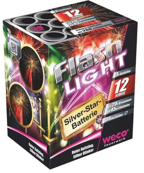 Weco Flashlight Feuerwerksbatterie mit silbernen Blinker Buketts