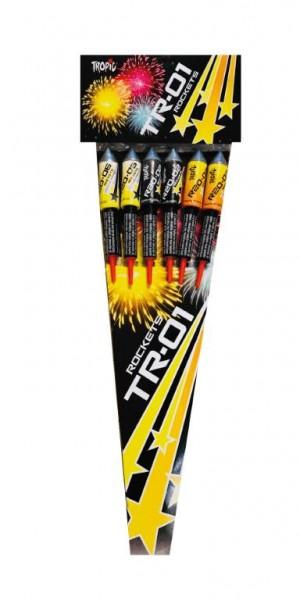 6 kräftige TR01 Raketen aus dem Hause Tropic Firework aus Polen
