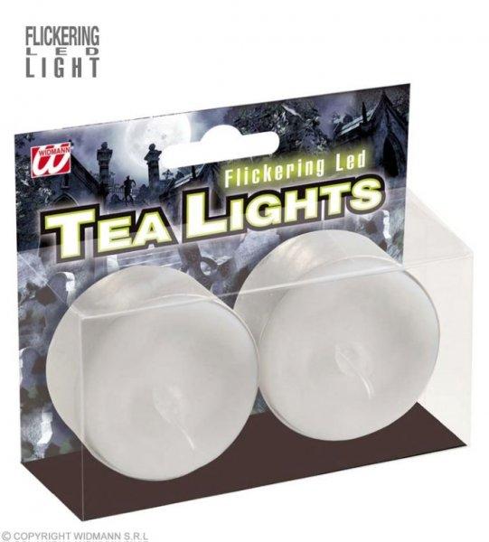 2 leuchtende Teelichter mit flackerlicht