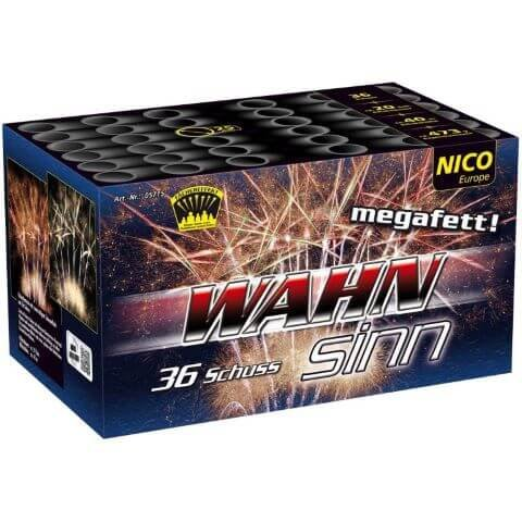 Wahnsinn - 36 Schuss Fächer Batterie mit crackling Feuertöpfen und Schweifsternen