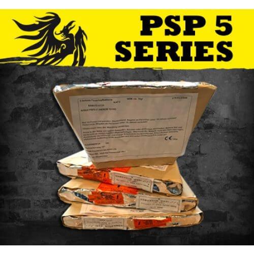 PSP 5-5 - Single Row mit 5 gleichzeitig gezündeten goldenen Feuertöpfen mit Gold Kronen