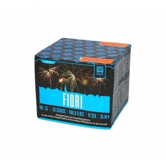 Fiori - 36 Schuss Feuerwerk mit großen goldenen Effekten mit bunten Sternen kombiniert!