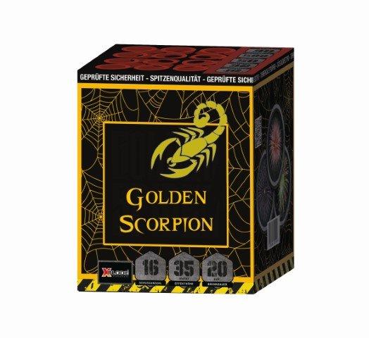 Golden Scorpion - 16 Schuss Feuerwerk mit roten und silbernen Blinkersternen - XP5237