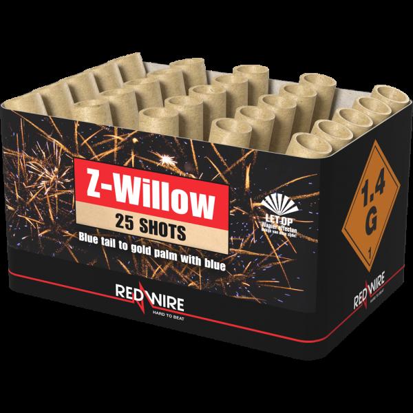 25 blau aufsteigende Bombetten mit großen goldenen Plamen. Die Z-Willow von Lesli Feuerwerk