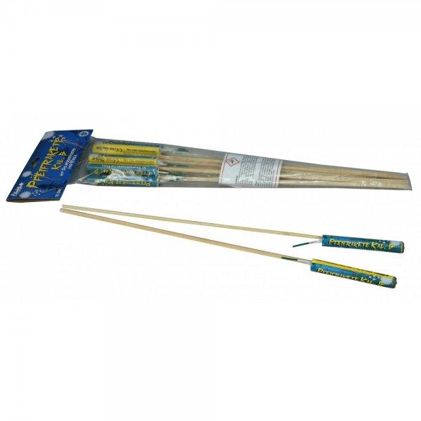Pfeifraketen Kaliber B mit Silbercrackern und Knall - kleine Raketen mit silbernen Pfeif Aufstieg und Crackern - mit Knall