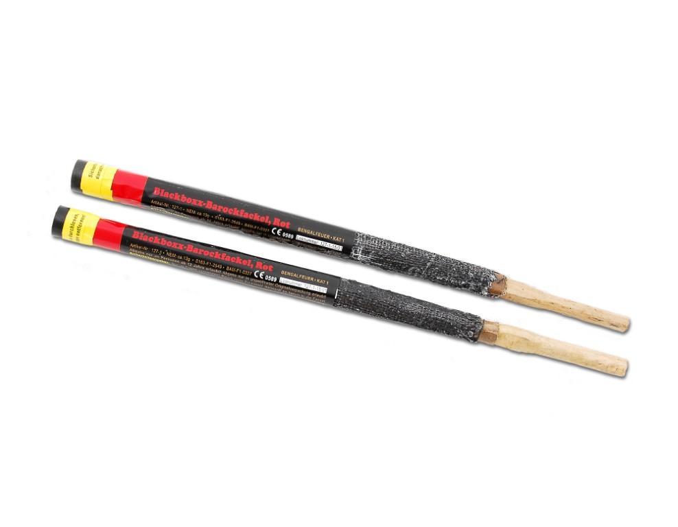 Blackboxx-Barockfackel  Rot  Bengalfeuer Klasse 1  //// 2er Pack