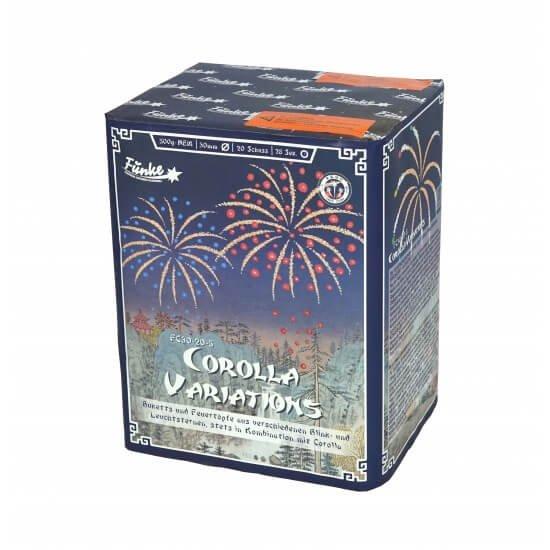 Corolla Variations - 20Schuss Batterie mit vielen Farben blinkern und Feuertöpfen von Funke Feuerwerk