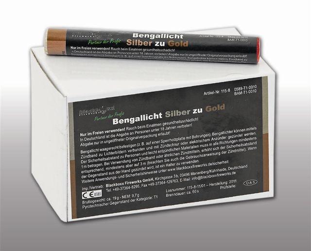 Pyrolager.de - Blackboxx Lanzenlichter Silber zu Gold