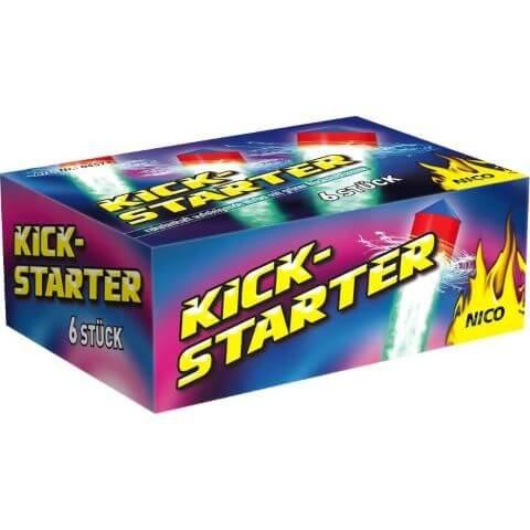 Kickstartert - 6 Bodenwirbel mit Raketen Aufstieg und grüner Flamme