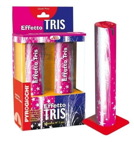 Effetto Tris - 2 leise Fontänen mit feinem crackling und violetten Sternen