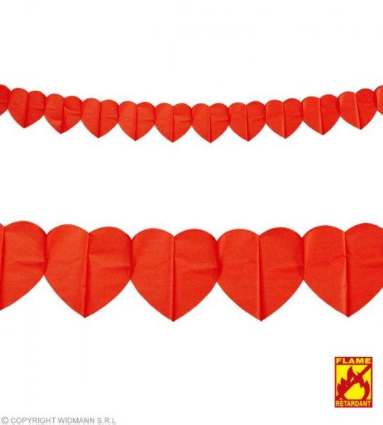 3 Meter lange Herzgirlande Rot