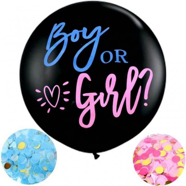 Großer Gender Reveal Ballon mit Aufschrift Boy or Girl?