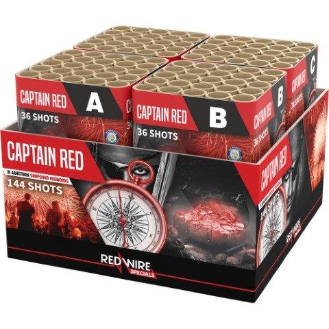 144 schuss goldene Palmen und rote Sterne - Die Captain Red Feuerwerksbatterie