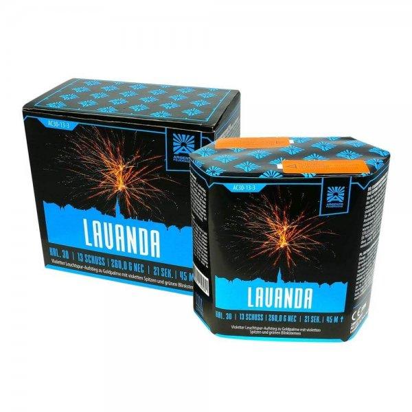 Lavanda - 13 Schuss Feuerwerk mit großen Goldpalmen und violetten Spitzen