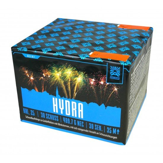 Hydra- 38 Schuss Feuerwerk mit großen steigernder und abwechslungsreicher Schussfolge
