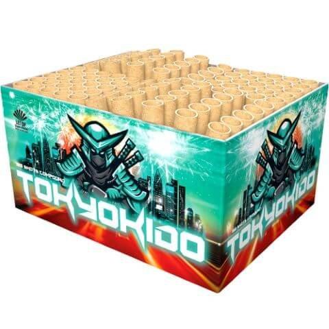 Tokyokido - 100 Schuss rot weißes, rasantes Feuerwerk