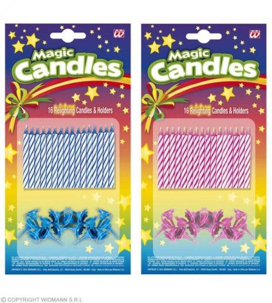 Magische Kuchenkerzen die sich selbst wieder entzünden in blau und pink