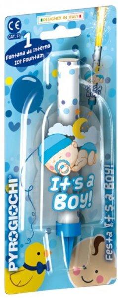 Eisfontäne mit baby motiv in blau und It's a boy