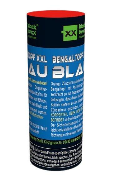 Blauer XXL Bengaltopf mit 60 Sekunden Brenndauer