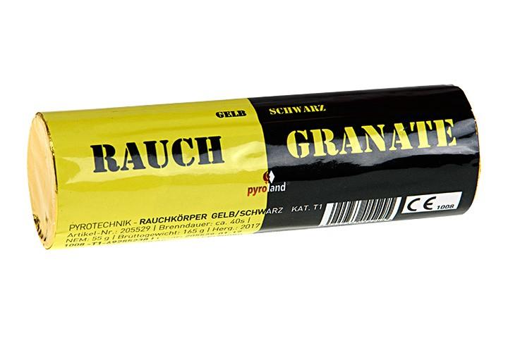 Rauchgranate Gelb schwarz - Doppelrauch im Pyrolager.de
