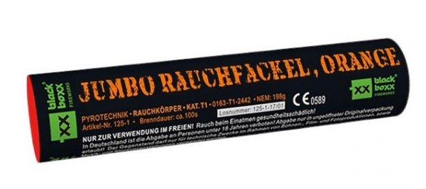 Jumbo Rauchfackel Orange mit zweiseitigen Rauchausstoss