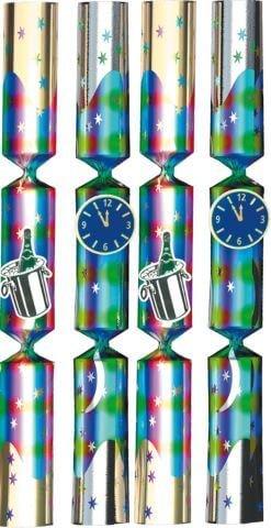 4 tolle, 22 cm lange Knallbonbons mit Uhr und Sektflaschen Symbolen