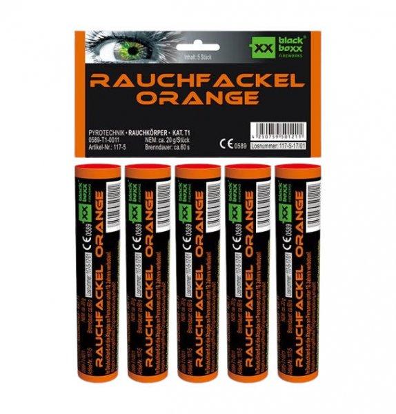 Rauchfackel Orange im 5er Pack