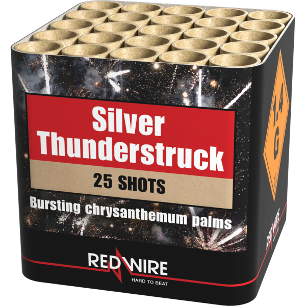25 Schuss silberne Chrysanthemen Palmen die Silver Thunderstruck von Lesli Feuerwerk