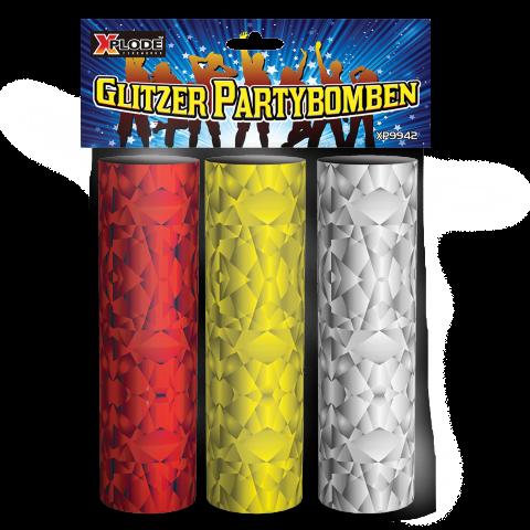 3 glitzernde Tischknaller von Xplode - Die Xplode Glitzer Partybombe